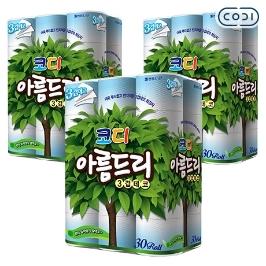 [원더배송] [원더쿠폰] 코디 아름드리 3겹 27m 30롤 3팩 화장지