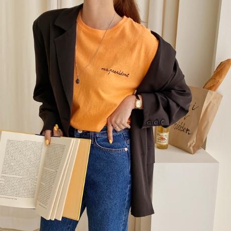 프레스 자수 루즈핏 반팔 티셔츠