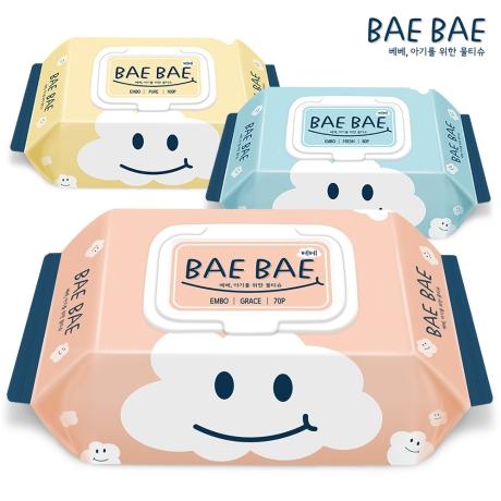 BAEBAE 베베 아기물티슈 70gsm GRACE 캡형 70매 20팩 / 10팩 + 10팩 ★