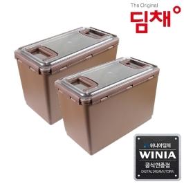 위니아딤채 김치냉장고 전용용기 14.1L 참숯투명EZ용기 2개입 (도번 2850)