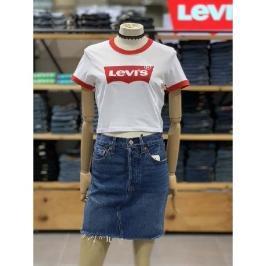 [리바이스] (현대백화점)[리바이스] 여성 베트윙 로고 크롭 반팔 티셔츠 79729-0001