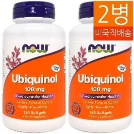[해외배송] 2병 나우푸드 유비퀴놀 Ubiquinol 100mg 120젤