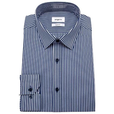 [웅가로] [백화점]슬림핏 네이비 스트라이프 긴팔 셔츠(U2B07ST16-N)
