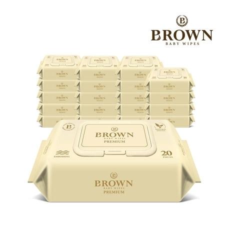 브라운 프리미엄 아기물티슈 20매 휴대용 캡형 20팩